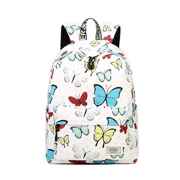 IPRee® Women Girls Backpack Butterfly Print Polyester College Travel School Rucksack