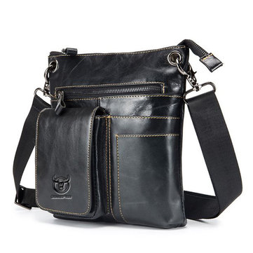 Mannen Bullcaptain multifunctionele lederen casual schoudertas Crossbody