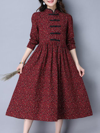 Buy Folk Style Women Long Sleeve Frog Buttons Printed Swing Dress for $27.89 in Banggood store