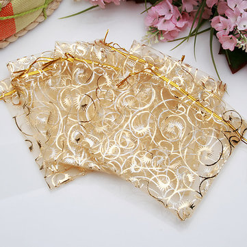 100Pcs Champagne Color Organza Pouch Wedding