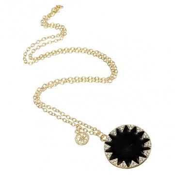 Retro brillante Diosa Iniciar Crystal Round Sun Pendant Necklace