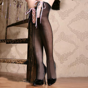 Kızlar Cross Straps Black Stockings