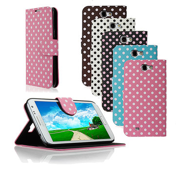 Dot Magnetic Flip Stand Leather Case For Samsung Galaxy Note 2 N7100