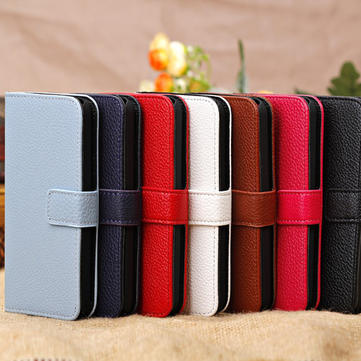 Litchi Grain Magnet Slide Flip Stand Wallet Leather Case For iPhone 5C