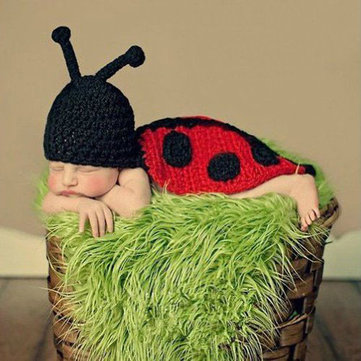 Baby Infant Ladybug Crochet Costume Photo Photography Prop Clothes