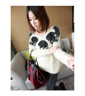 Korea Joker Women's Skull Heads Mohair V Collar Pullover Sweater