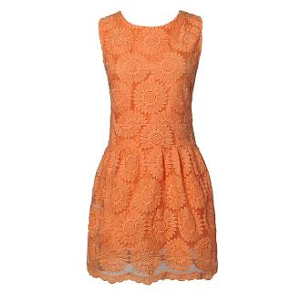 Orange 2013 New Women Summer Stereo Flower Sleeveless Pure Color Dress