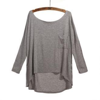Gray Round Neck Irregular Hem Long Sleeve Loose Cotton T-shirt