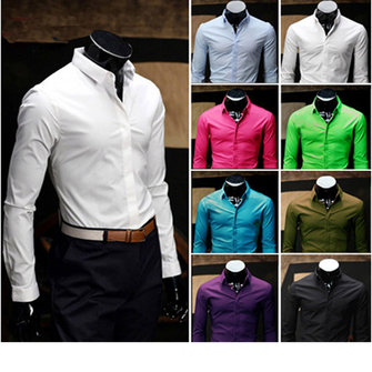 Mens Casual Long Sleeved Slim Formal Cotton Shirt
