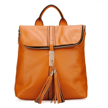 Causal Tassel Women PU Leather Backpack Handbag - US$31.53 sold out