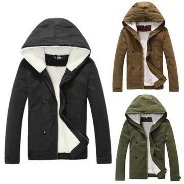 Homens de inverno velo coberto casaco de jaqueta quente