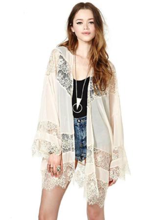 Fashion Loose Lace Splicing Long Sleeve Chiffon Cardigan Blouse at ...