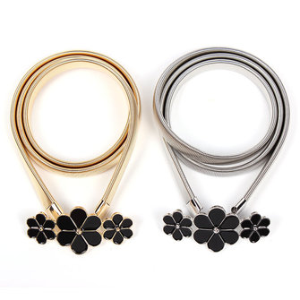 Women Belt Flower Waist Chain Alloy Buckle Strip