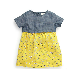 2015 New Little Maven Baby Girl Children Summer Blue Top &Yellow Cotton Dress