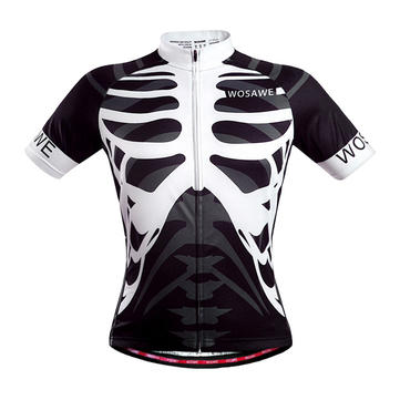 WOSAWE Mens Cycling Bicycle Jersey Mountain Road Short Sleeve Shirt Bike Clothing Skeleton