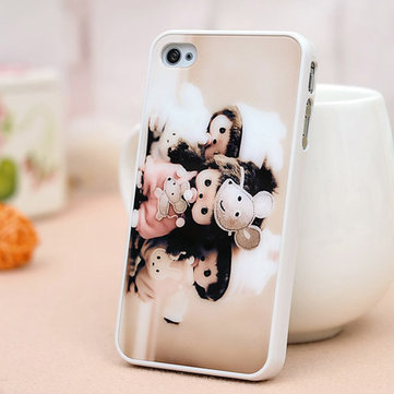 Cartoon Monchhichi Brothers And Sisters Cover Case Voor iPhone 4 4s